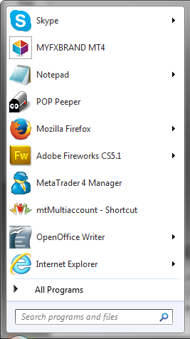 mt4 icon as it appears on windows start menu
